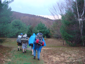 Hiking in with Ponchos